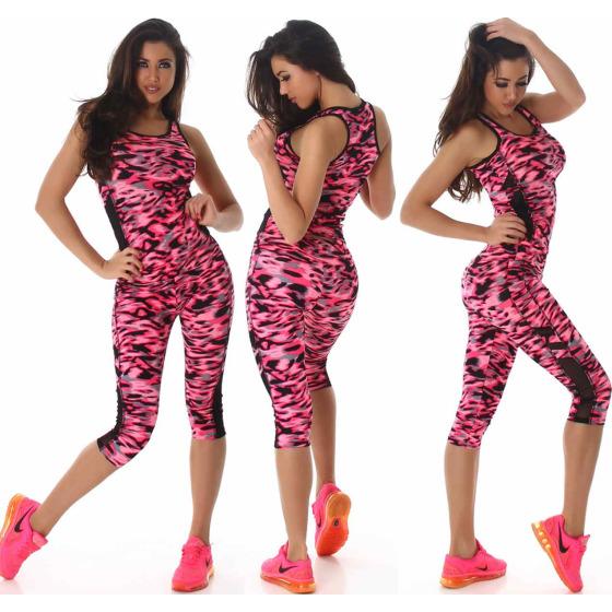 SL1 Damen Sportanzug Trainingsanzug Fitness-Set Top Leggings, Pink SM