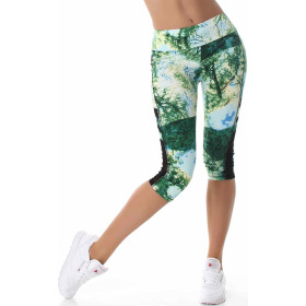 SL1 Damen Sportanzug Trainingsanzug Fitness-Set Top Leggings, Grün SM
