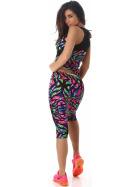 SL1 Damen Sportanzug Trainingsanzug Fitness-Set Top Leggings, Bunt LXL