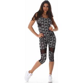 SL1 Damen Sportanzug Trainingsanzug Fitness-Set Top Leggings, Schwarz SM