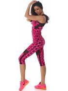 SL1 Damen Sportanzug Trainingsanzug Fitness-Set Top Leggings, Pink LXL