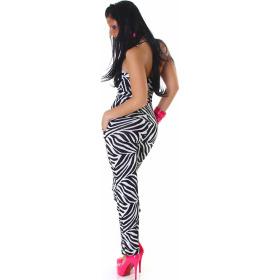 Jela London Damen Neckholder Overall Onesie Jumpsuit, Zebra
