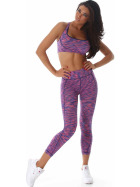 Jela London Sport Set Trainingsanzug Crop-Top Leggings Lila