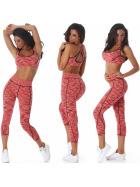 Jela London Sport Set Trainingsanzug Crop-Top Leggings Apricot