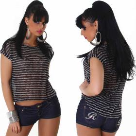 Voyelles Strick-Shirt Streifen Pailletten Vokuhila...