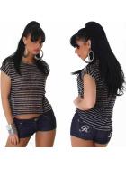Voyelles Strick-Shirt Streifen Pailletten Vokuhila Glitzer (36-40)