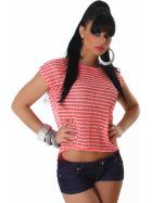 Voyelles Sommer-Shirt Vokuhila Streifen Pailletten Netz, Hellrot-Weiß