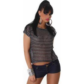 Voyelles Sommer-Shirt Vokuhila Streifen Pailletten Netz, Schwarz-Grau