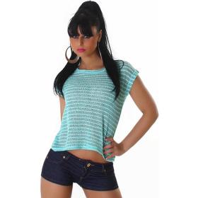 Voyelles Sommer-Shirt Vokuhila Streifen Pailletten Netz, Blaugrün-Weiß