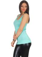 Jela London Damen Basic Longtop Top Stretch Racerback, Türkis dünn