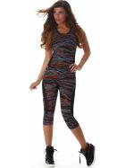 SL1 Damen Sportanzug Trainingsanzug Fitness-Set Top Leggings, Orange LXL