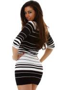 Jela London Streifen Strickkleid Stretch Longpulli 3/4-Arm Schwarz Weiß