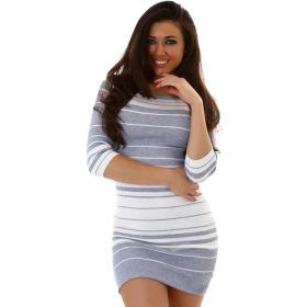 Jela London Streifen Strickkleid Stretch Longpulli 3/4-Arm, Grau Weiß