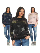 StyleLightOne Damen Kuschel-Pullover Sternen-Motiv Feinstrick (36-40)