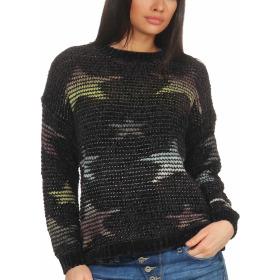StyleLightOne Damen Kuschel-Pullover Sternen-Motiv zart 36-40, Schwarz
