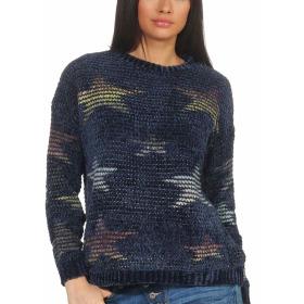 StyleLightOne Damen Kuschel-Pullover Sternen-Motiv zart 36-40, Blau