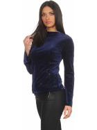SL1 Damen Dünner Glitzer-Pullover Schlag-Ärmel Stretch, Blau S
