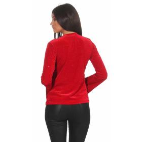 SL1 Damen Dünner Glitzer-Pullover Schlag-Ärmel Stretch, Rot S