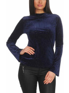 SL1 Damen Dünner Glitzer-Pullover Schlag-Ärmel Stretch, Blau M