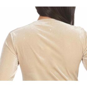 SL1 Damen Dünner Glitzer-Pullover Schlag-Ärmel Stretch, Beige M