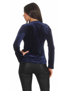 SL1 Damen Dünner Glitzer-Pullover Schlag-Ärmel Stretch, Blau L