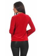 SL1 Damen Dünner Glitzer-Pullover Schlag-Ärmel Stretch, Rot L