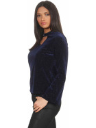 SL1 Damen Dünner Glitzer-Pullover Halsband V-Neck Stretch, Blau S
