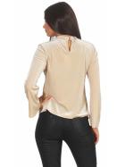 SL1 Damen Dünner Glitzer-Pullover Halsband V-Neck Stretch, Beige S