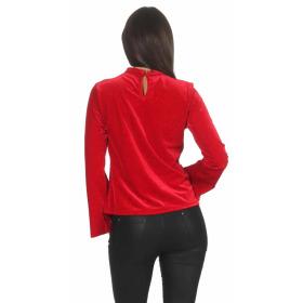 SL1 Damen Dünner Glitzer-Pullover Halsband V-Neck Stretch, Rot S