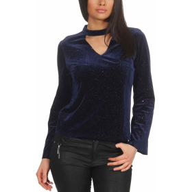 SL1 Damen Dünner Glitzer-Pullover Halsband V-Neck Stretch, Blau M
