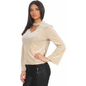 SL1 Damen Dünner Glitzer-Pullover Halsband V-Neck Stretch, Beige M