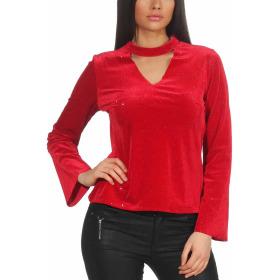 SL1 Damen Dünner Glitzer-Pullover Halsband V-Neck Stretch, Rot M