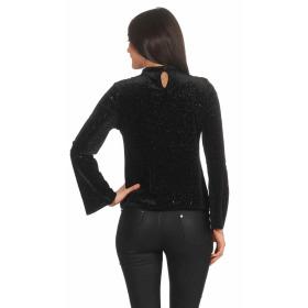 SL1 Damen Dünner Glitzer-Pullover Halsband V-Neck Stretch, Schwarz L