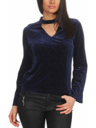 SL1 Damen Dünner Glitzer-Pullover Halsband V-Neck Stretch, Blau L