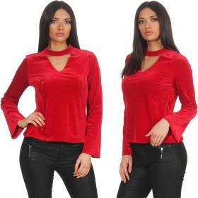SL1 Damen Dünner Glitzer-Pullover Halsband V-Neck Stretch, Rot L