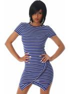 Jela London Strickkleid Stretch Streifen Wickeloptik Blau 34 36