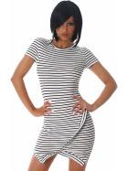 Jela London Strickkleid Stretch Streifen Wickeloptik Weiß 36 38