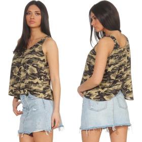 StyleLightOne Damen Camouflage Tank-Top Knopfleiste...