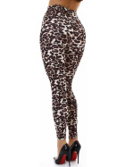 Jela London Leoparden Leggings Wetlook Schnürung High-Waist, 38 40 (L)