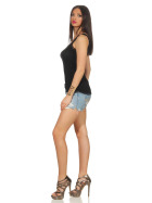StyleLightOne Damen Dünnes Tank-Top Spitze Stretch, Schwarz 36 38