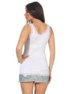 StyleLightOne Damen Dünnes Tank-Top Spitze Stretch, Weiß 36 38