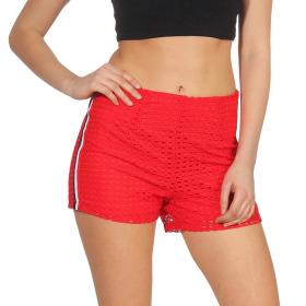 StyleLightOne High-Waist Netz-Shorts Hotpants Streifen, 36 (S) Rot