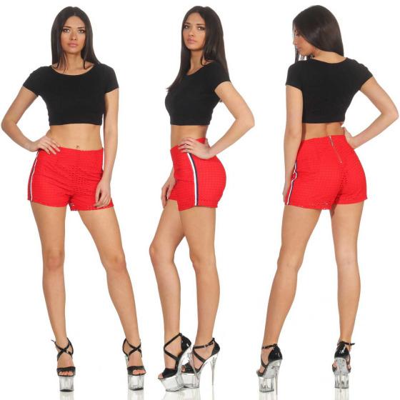 StyleLightOne High-Waist Netz-Shorts Hotpants Streifen, 38 (M) Rot