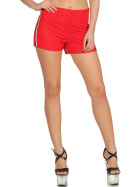 StyleLightOne High-Waist Netz-Shorts Hotpants Streifen, 40 (L) Rot