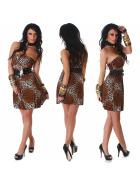 StyleLightOne Damen Bandeau Kleid Leopard Stretch Gürtel Braun 34 36 38