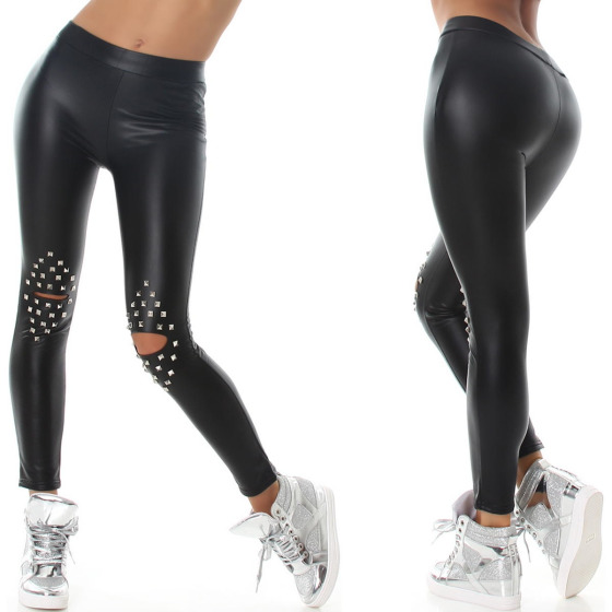 StyleLightOne Wetlook Kunstleder Leggings Nieten Hoher Bund 34 (S)