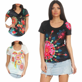 StyleLightOne Damen T-Shirt Stretch Glitzer-Steinchen...