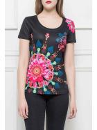 StyleLightOne Damen T-Shirt Stretch Glitzer-Steinchen, Schwarz S/M
