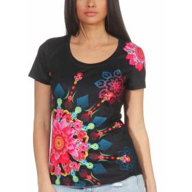 StyleLightOne Damen T-Shirt Stretch Glitzer-Steinchen, Schwarz M/L
