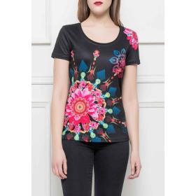 StyleLightOne Damen T-Shirt Stretch Glitzer-Steinchen, Schwarz L/XL